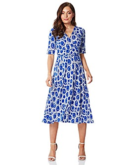 Roman Spot Printed Fit and Flare Dress
