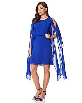 Roman Chiffon Cold Shoulder Sleeve Dress