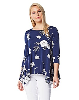 Roman Floral 3/4 Sleeve Smock Top