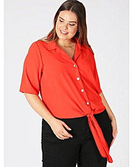 Lovedrobe GB Red Tie Front Shirt
