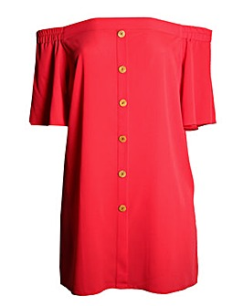 Lovedrobe GB Coral Longline Bardot Top