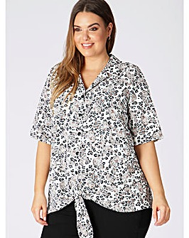 Lovedrobe GB Leopard Tie Front Shirt