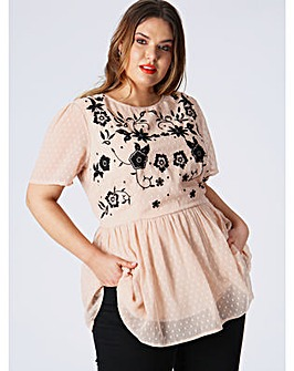 Koko Pink Embroidered Top