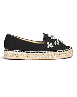 Sole Diva Jewelled Espadrille Wide E Fit