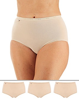 Sloggi 3Pack Basic Maxi Briefs, White, Black or Skintone