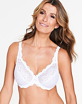 Playtex Flower Lace Full Cup Wired White Bra
