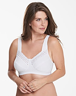 Miss Mary Broderie Anglais Cotton Non Wired White Bra