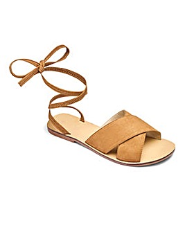 Sole Diva Leather Tie Up Sandals Wide E Fit