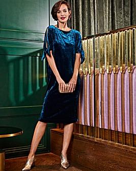 Joanna Hope Teal Velour Tie Sleeve Dress