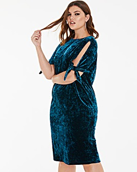 Joanna Hope Teal Velour Tie Sleeve Dress