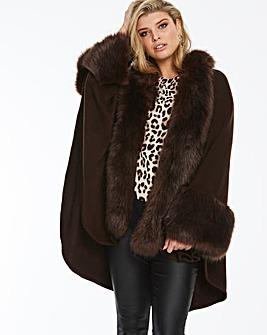 Joanna Hope Faux Fur Trim Cape