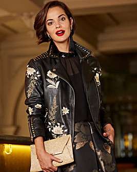 Joanna Hope Embroidered Leather Jacket