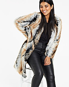 Joanna Hope Faux Fur Edge To Edge Coat