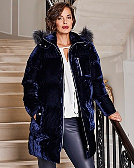 Joanna Hope Lux Velour Parka