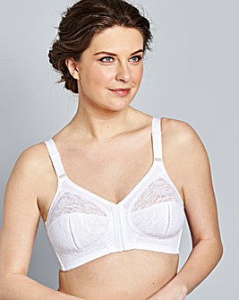 Naturally Close Dotty Front Fastening White Bra