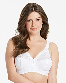 Naturally Close Dotty Front Fastening White Midi Bra