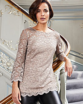 Joanna Hope Glitter Lace Top