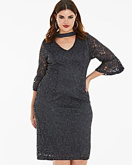Joanna Hope Glitter Lace Dress