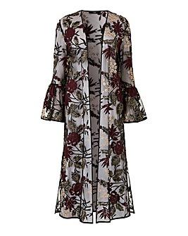 Joanna Hope Embroidered Mesh Kimono