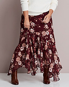 Joanna Hope Printed Ruffle Maxi Skirt