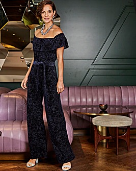Joanna Hope Velour Bardot Jumpsuit