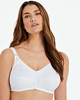 Naturaly Close Dotty Embroidered Full Cup Non wired White Bra