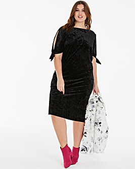 Joanna Hope Black Velour Tie Dress