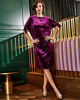 Joanna Hope Velour Tie Sleeve Dress