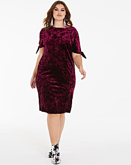 Joanna Hope Velour Tie Sleeve Dress