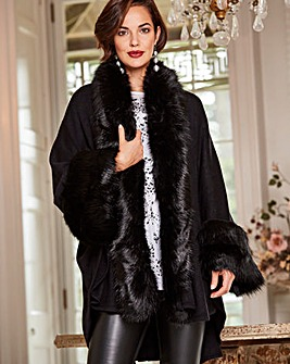 Joanna Hope Fur Trim Cape