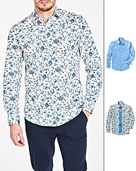 Blue/Floral Pack of 2 Cutaway Collar Long Sleeve Shirts & Tie