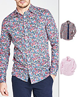 Pink/Floral Pack of 2 Cutaway Collar Long Sleeve Shirts & Tie