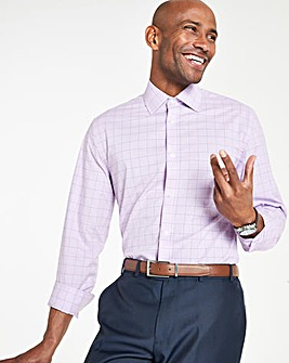 Lilac Check Long Sleeve Formal Shirt Long
