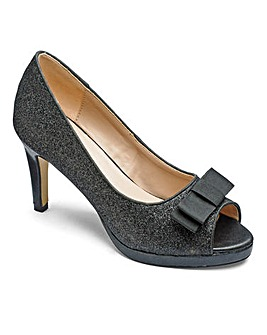 Heavenly Soles Glitter Peep Toe Shoes with Bow Detail Wide E Fit