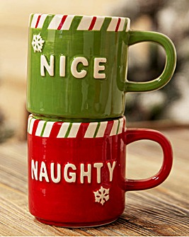 Naughty & Nice Set of 2 Christmas Mugs