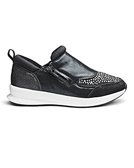 Heavenly Soles Diamante And Zip Detail Leisure Shoes Wide E Fit