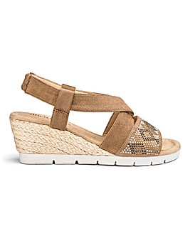 Diamante Detail Wedge Sandals E Fit