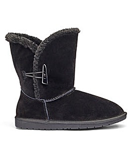 Suede Warm Lined Toggle Detail Ankle Boots Wide E Fit