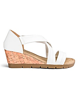 Crossover Wedge Flexible Sole Sandals Wide E Fit