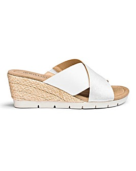 Crossover Wedge Mule Sandals E Fit