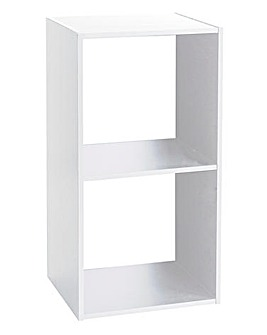 White Wooden 2 Cube Unit