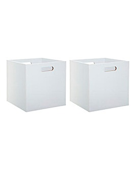Set of 2 White Wooden Cube Storage Boxes