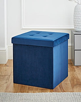 Velvet Foldable Storage Cube Navy