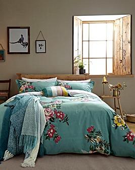 Joules Cotswold Floral 180 Thread Count Cotton Duvet Cover Set