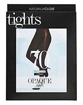 2 Pack 70 Denier Opaque Black Tights