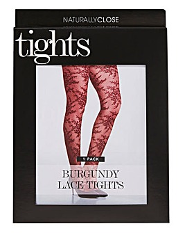 Naturally Close Burgundy Lace Tights