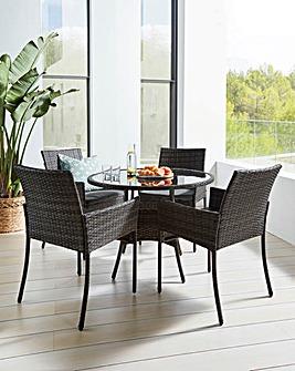 Cadiz Rattan 4 Seater Circular Dining Set