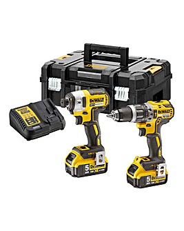 DeWALT 18V Impact Driver & Brushless SDS Twinpack with 2 x 5.0Ah Batteries
