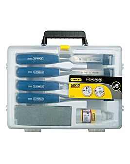 Stanley 4 Piece Chisel Set with Oil & Sharpening Stone