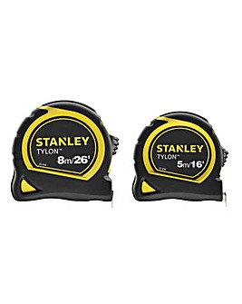 Stanley 5m & 8m Tylon Tape Twin Pack